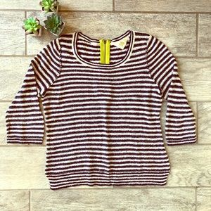 Anthropologie HWR Monogram Striped Sweater